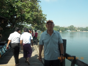 On the teak bridge