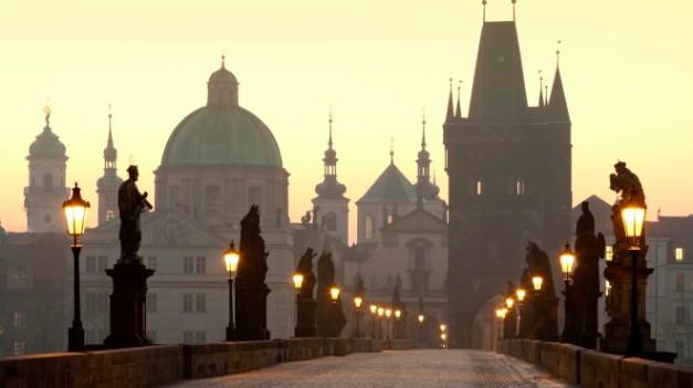 Czech Republic, Prague, Charles Bridge at dawn.