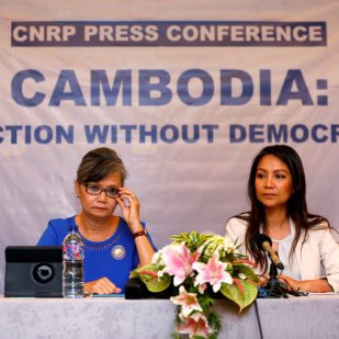 REFILE - QUALITY REPEAT Vice President of the Cambodia National Rescue Party (CNRP), Mu Sochua (L) and CNRP's Deputy Director for Foreign Affairs, Monovithya Kem (R), hold a press conference in Jakarta, Indonesia, July 30, 2018. REUTERS/Willy Kurniawan - RC192EEF3420