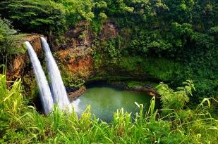 Majestic twin Wailua waterfalls on Kauai, Hawaii