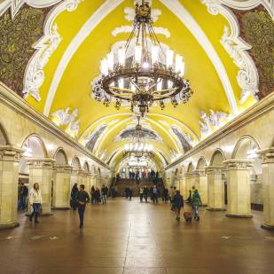 Interior view of Komsomolskaya Metro station with imposing Baroque ceiling and mosaic panels, Landmark of Moscow, Russia.